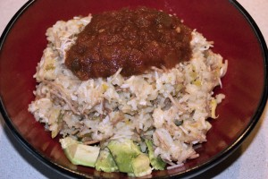 Yummy Finished Chicken-roni & Avocado Meal
